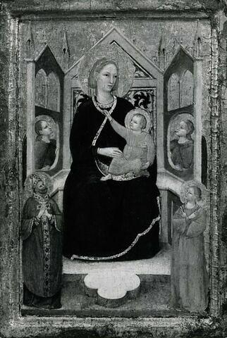 La Vierge et l'Enfant sur un trône entourés de deux anges, d'un saint évêque et d'une Sainte