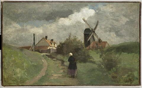Paysage avec un moulin à vent.