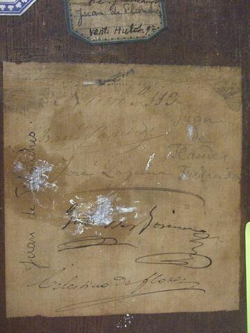 dos, verso, revers, arrière ; détail étiquette © 2011 Musée du Louvre / Peintures