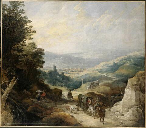 Paysage montagneux avec deux coches et un cavalier