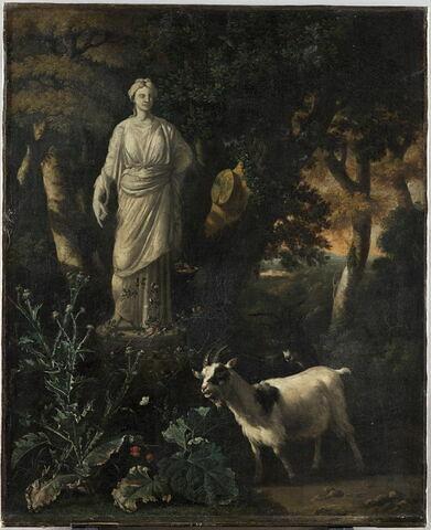 Deux Chèvres au pied d'une statue de déesse antique