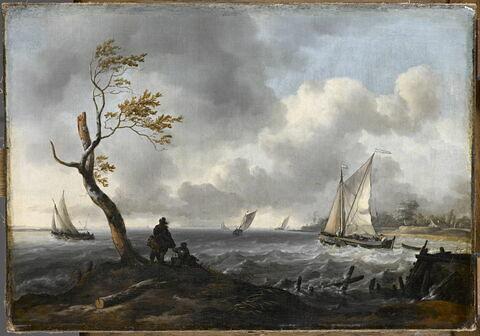 Bateau de pêche et cabotier par gros temps