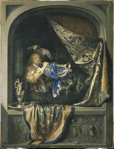 Le joueur de trompette, avec à l'arrière-plan une scène de festin