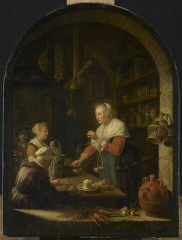 L'Épicière de village, avec le portrait du peintre à l'arrière-plan
