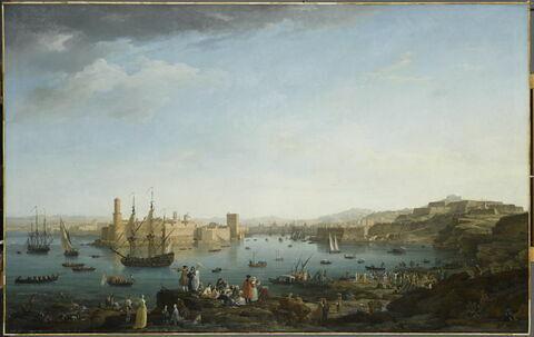 L'Entrée du port de Marseille. ( au premier plan J. Vernet dessinant)