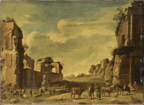 Vue de fantaisie du campo vaccino à Rome avec deux ânes
