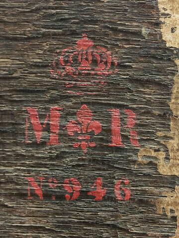 dos, verso, revers, arrière ; détail marquage / immatriculation © 2016 Musée du Louvre / Peintures