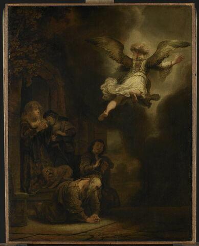 L'Archange Raphaël quittant la famille de Tobie ou Tobie et sa famille prosternés devant l'ange