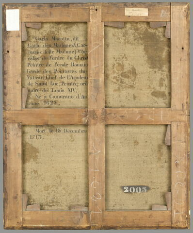 dos, verso, revers, arrière ; vue d'ensemble ; vue sans cadre © 2009 RMN-Grand Palais (musée du Louvre) / Stéphane Maréchalle