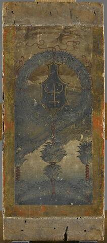 Blason inscrit dans une couronne de feuillage sur un fond de paysage