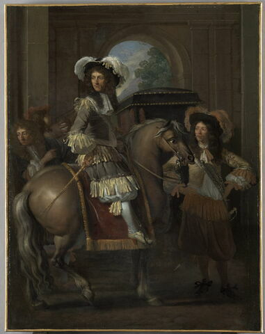 Portrait d'un gentilhomme à cheval avec carrosse devant une porte monumentale