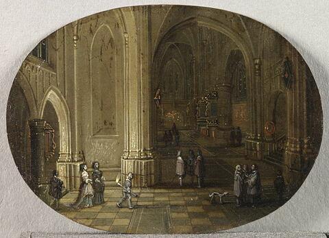 Intérieur d'église. Effet de nuit