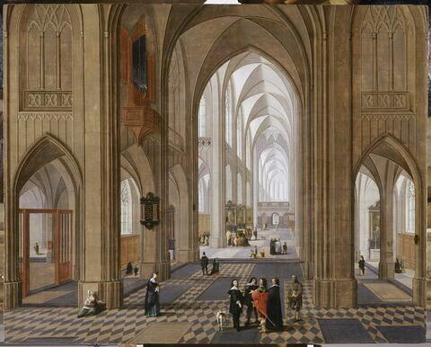 Vue intérieur d'église, inspirée par la cathédrale d'Anvers