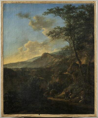 Paysage avec pâtres et muletiers dans un chemin creux, au soleil couchant