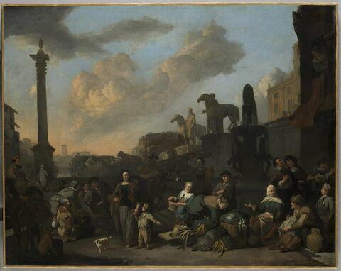 Le marché aux herbes à Rome, près du Capitole, vue de fantaisie