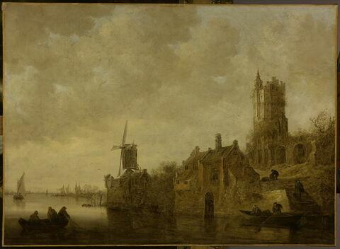 Paysage fluvial avec moulin et château en ruines