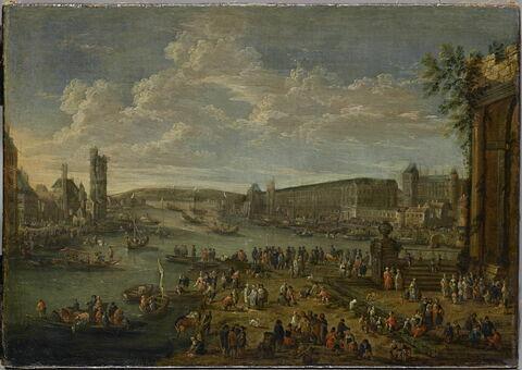 Vue du Louvre et de la tour de Nesle prise de l'île de la Cité à Paris