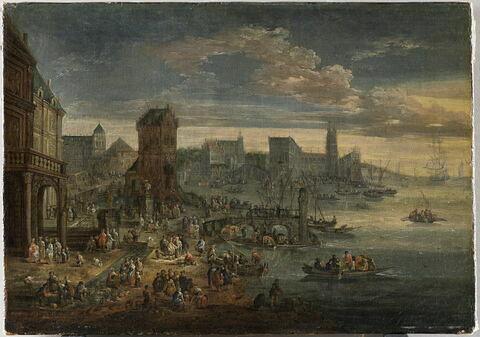 Vue d'un port imaginaire