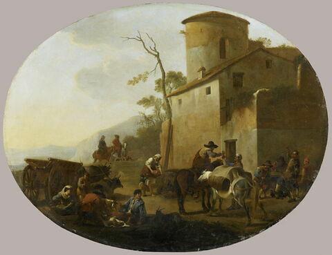 La Dînée des voyageurs. Paysans mangeant près d'une auberge ou se délassant
