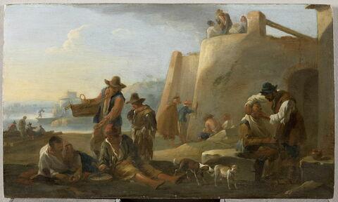 Barbier et Joueurs de roulette. Scène de la vie populaire à Rome, près du Tibre