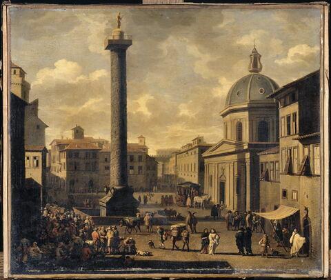 Vue de la place Colonna à Rome avec la Colonne Trajane et de l'église Sainte-Marie-de-Lorette à Rome
