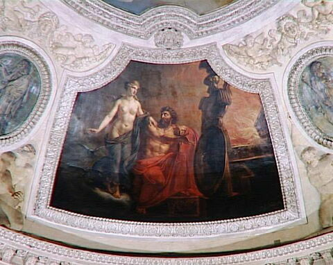 Plafond : Le Feu. Vénus recevant des mains de Vulcain les armes qu'il a forgées pour Énée.