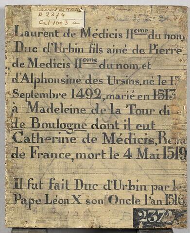 dos, verso, revers, arrière ; vue d'ensemble ; vue sans cadre © 2017 RMN-Grand Palais (musée du Louvre) / Michel Urtado