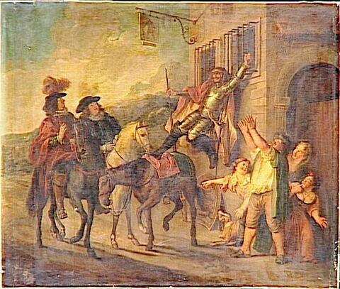Don Quichotte attaché à une fenêtre par la malice de Maritorne (Cervantes, Don Quichotte).