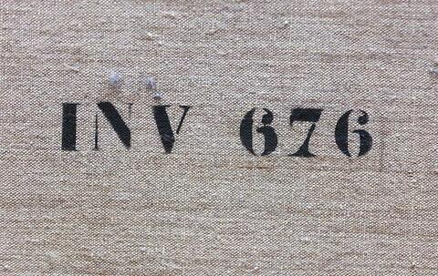 dos, verso, revers, arrière ; détail marquage / immatriculation © 2018 Musée du Louvre / Peintures