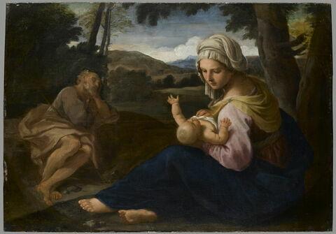 Le repos pendant la fuite en Égypte avec saint Joseph dormant