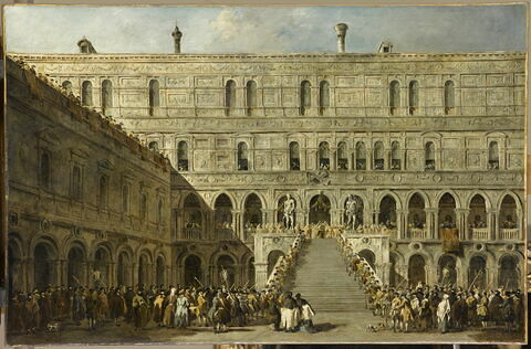 Le Couronnement du doge de Venise sur l'escalier des Géants au palais des Doges de Venise