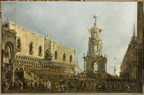Le Doge de Venise assiste aux fêtes du jeudi gras sur la Piazzetta
