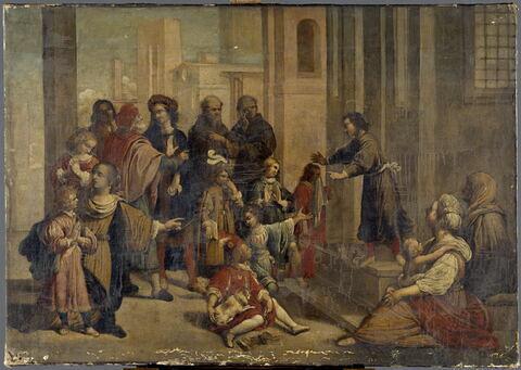 Scène religieuse. Prêche (?) aux portes d'une chapelle