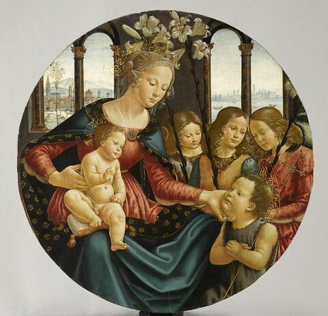 La Vierge et l'Enfant entourés du petit saint Jean Baptiste et de trois anges