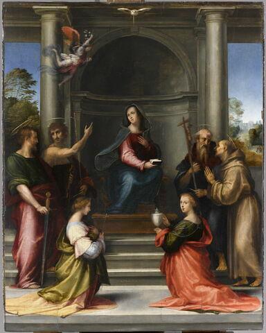 L'Incarnation du Christ. L'Annonciation avec les saintes Marguerite et Marie-Madeleine et les saints Paul, Jean Baptiste, Jérôme et François