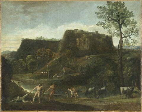 Paysage avec Hercule tirant Cacus de sa caverne