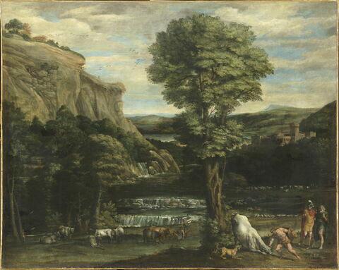 Paysage avec Hercule combattant Acheloüs changé en taureau