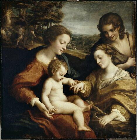 Le Mariage mystique de sainte Catherine d'Alexandrie en présence de saint Sébastien ; dans le paysage, martyres de deux saints
