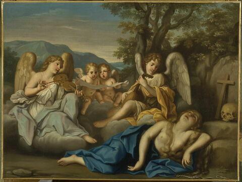 L'Extase de la Madeleine avec des anges musiciens