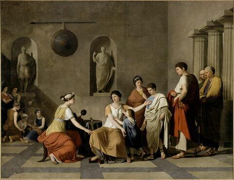 """Cornélie, mère des Gracques, montre ses enfants, en disant: """"Voici mes richesses et mes bijoux"""""""
