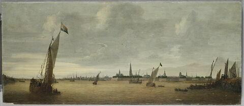 La Rade d'Anvers, vue du sud-ouest, depuis la rive droite de l'Escaut, en amont, à hauteur d'Hoboken