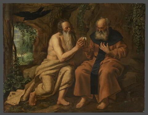 Saint Antoine et saint Paul ermites nourris par un corbeau
