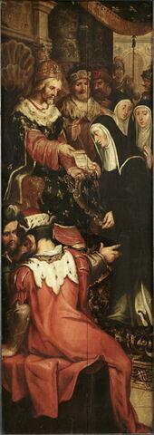 Portrait de l'abbé Antoine Blondel avec saint Antoine, son saint patron, 1632 Avers (face interne) d'un volet droit de retable  Au revers (face externe) : L'Empereur Charlemagne (ou un roi de France ?) remettant une charte de fondation d'abbaye à une religieuse