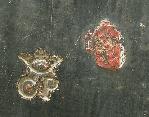 dos, verso, revers, arrière ; détail cachet ; détail marque au fer © 2004 Musée du Louvre / Peintures