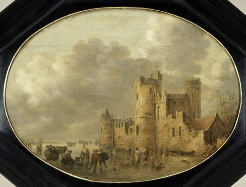 Patineurs devant un château médiéval