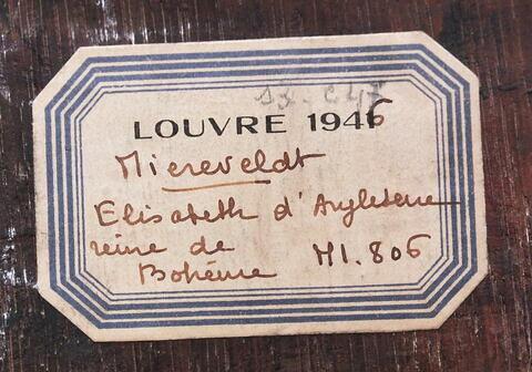 dos, verso, revers, arrière ; détail étiquette © 2019 Musée du Louvre / Peintures