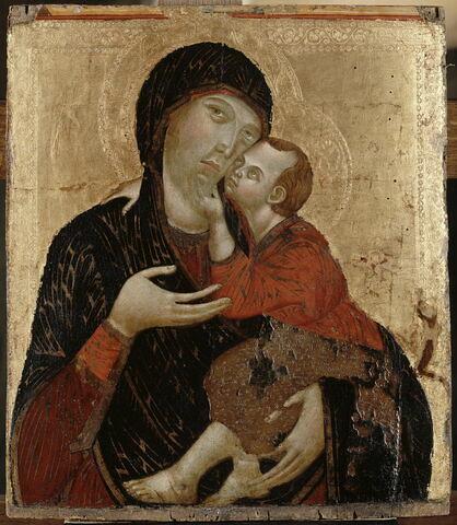 La Vierge et l'Enfant ; à droite à demi effacée, la stigmatisation de saint François