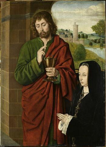 Anne de France, dame de Beaujeu, duchesse de Bourbon, présentée par saint Jean l'évangéliste