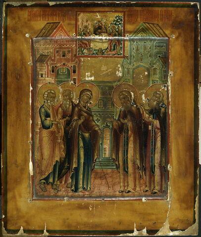 L'Apparition de la Vierge accompagnée des saints apôtres Pierre et Jean, à saint Serge de Radonège (1322-1392) et à son disciple Nikon