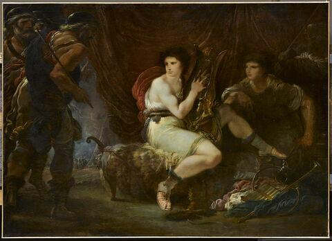 Achille jouant de la lyre avec Patrocle, sous sa tente, surpris par Ulysse et Nestor